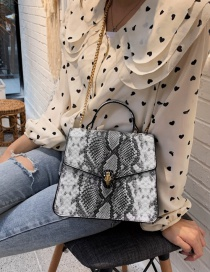Fashion Black Crossbody Single Shoulder Stitching Snake Tote