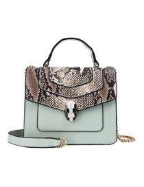 Fashion Green Snake Contrast Snake-printed Crossbody Bag