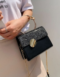 Fashion Black Sequins Portable Sequin Shoulder Lock Messenger Bag