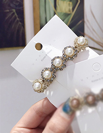 Fashion White Pearl-studded Spring Clip
