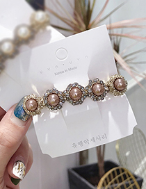 Fashion Champagne Pearl-studded Spring Clip