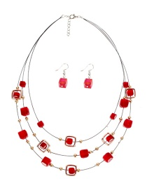 Fashion Red Crystal Necklace Set