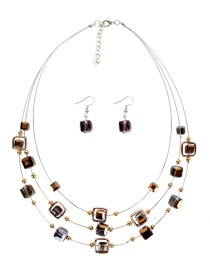 Fashion Semi-plated Gold Crystal Necklace Set
