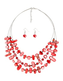 Fashion Red Multi-layer Irregular Shell Necklace Set