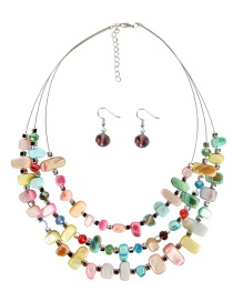 Fashion Color Mixing Multi-layer Irregular Shell Necklace Set