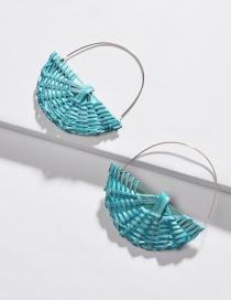 Fashion Green Rattan Color Semicircle Small Basket Earrings