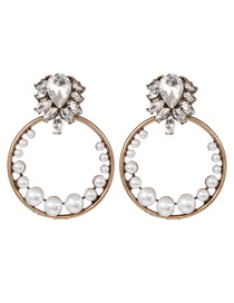 Fashion Color Alloy Geometric Circle With Pearl Stud Earrings