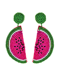 Fashion Rose Red Alloy Non-woven Beads Watermelon Earrings