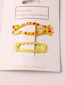 Fashion Giraffe + Rectangular Metallic Paint Cartoon Animal Hair Clip