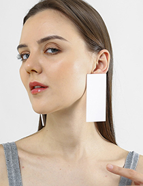 Fashion White Large Rectangular Earrings