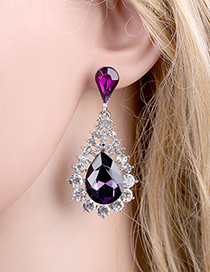Fashion Purple Alloy Diamond Drop Earrings