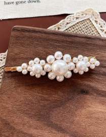 Fashion Three Flowers Golden Pearl Flower Hair Clip