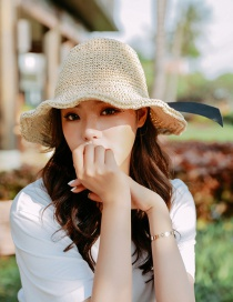 Fashion Curled Bow Beige Woven Straw Hat