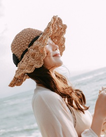 Fashion Khaki Weave Wavy Side Fan-shaped Streamers Big Visor