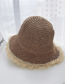 Fashion Khaki Ruffled Straw Hat