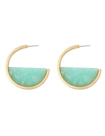 Fashion Mint Green Alloy Acetate Plate Semi-circular Earrings