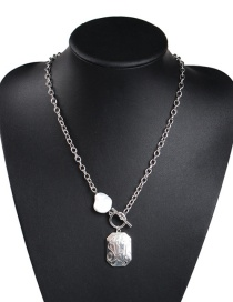 Fashion White K Alloy Chain Pearl Pattern Necklace