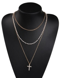Fashion Gold Alloy Multilayer Pearl Diamond Cross Necklace