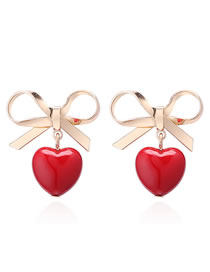 Fashion Red Bowknot Shape Decorated Earrings