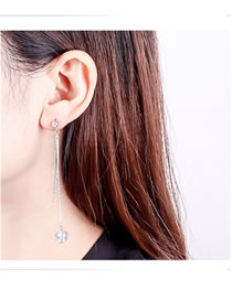 Fashion Silver Color Diamond Decorated Long Tassel Earrings
