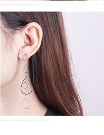 Fashion Silver Color Waterdrop Shape Design Long Earrings