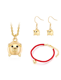Fashion Gold Color Pig Shape Decorated Jewelry Set