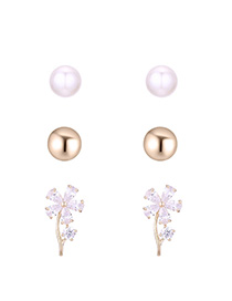 Fashion Pearl White Flower Pearl S925 Silver Needle Set Earrings (14k)