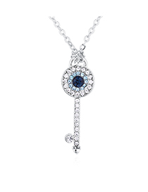 Fashion Platinum Devil's Eye Key Crystal Necklace