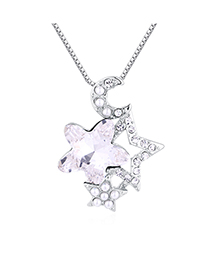 Fashion White Star Moon Guard Crystal Necklace