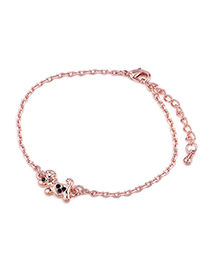 Fashion Rose Gold + Black Puppy Gold Plated Bracelet
