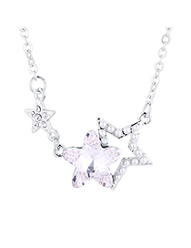 Fashion White Star Guardian Crystal Necklace