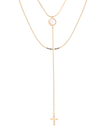 Fashion 14k Gold Plated Gold Necklace - Cross