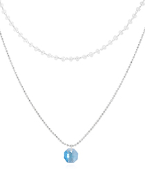 Fashion Platinum Crystal Necklace - Small Lantern