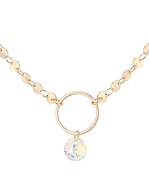 Fashion 14k Gold + Color White Crystal Necklace - Ring