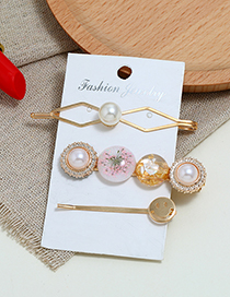 Fashion Pink Geometric Pearl-studded Three-piece Hair Clip