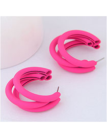 Fashion Rose Red Metal Fluorescent Half-turn Multi-layer Earrings