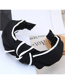 Fashion Black Striped Knotted Wide-brimmed Headband