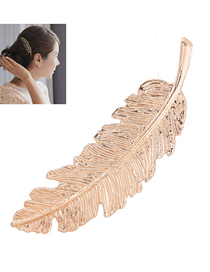 Fashion Gold Metal Feather Hair Clip