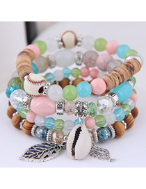 Fashion Color Metal Leaf Conch Fringed Beaded Multi-layer Bracelet