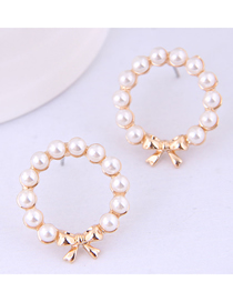 Fashion Gold Bow Pearl Stud Earrings