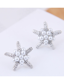 Fashion Silver (silver) Small Starfish Pearl Stud Earrings