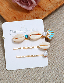 Fashion Blue Conch Sea Shell Hair Clip Two-piece