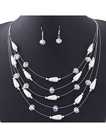 Fashion Silver Pearl Crystal Multilayer Necklace Earrings (set)