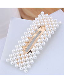 Fashion Gold Pearl Square Hair Clip