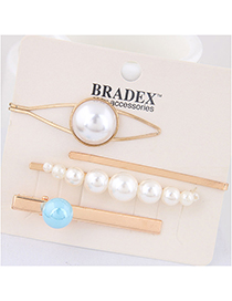 Fashion Blue Pearl Alloy Hair Clip Four-piece