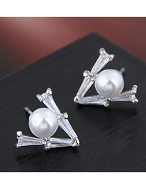 Fashion Silver 925 Silver Triangle Pearl Stud Earrings