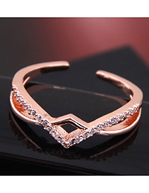 Fashion Gold Copper Inlaid Zircon Braided Opening Ring