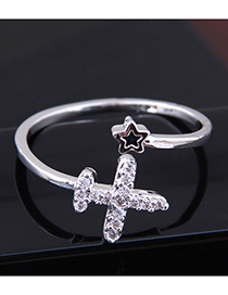 Fashion Silver Copper Inlaid Zircon Airplane Opening Ring