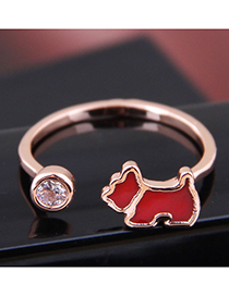 Fashion Gold Copper Lucky Dog Open Ring