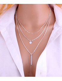 Silver Metal Multilayer Chain Necklace